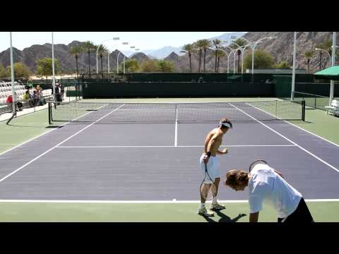David Ferrer Practicing Serves At The 2013 BNP Paribas Open Indian Wells