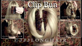 JJJs Clip Bun Tutorial for Long hair-Knee length straight hair