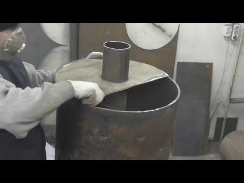 Печь для бани из металлолома  Печь для бани из 500мм трубы   хорошая печь для бани!