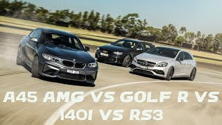 Mercedes A45 AMG vs BMW M140i vs Audi RS3 vs Volkswagen Golf R