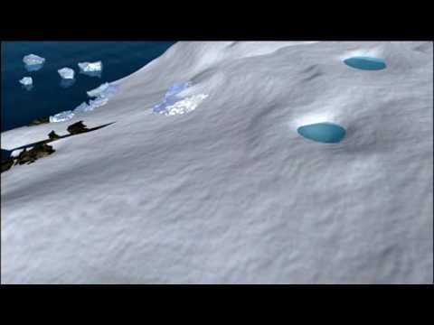 Animation showing Antarctica, melting of glacial ice sheets and their slide into the ocean.
