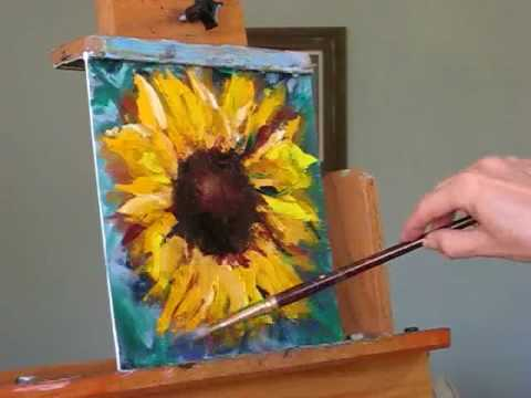 How to paint a sunflower demo and free painting giveaway for How to paint sunflowers in acrylic