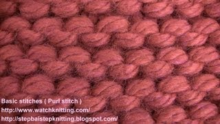 (Purl stitch) - watch knitting - lesson 3 - learn how to knit basic stitches