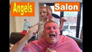 Angel Does Dads Hair Salon Pretend Play hair colour    Hair Salon Pretend Play