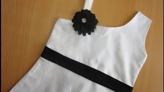 One Strap - One Shoulder Frock - (Aline Dress) BABY FROCK # 9 STEP BY STEP -EASY MAKING