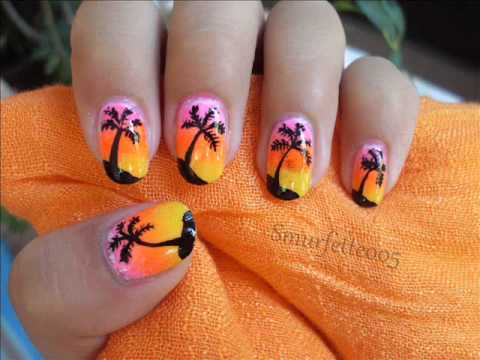 sunset palm tree nail art tutorial  summer neon nails