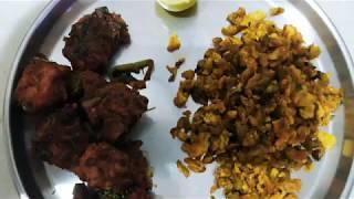 Weight loss diet day 7/30 || VRK diet for inch loss || Dondakaya Egg burji and butter roast chicken