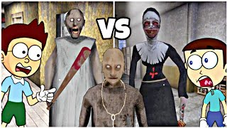 Granny Chapter Two vs Evil Nun | Shiva and Kanzo Gameplay