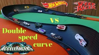 Hot Wheels Fat Track Speed Racers vs Acceleracers Tournament race