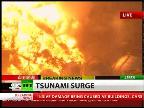 japonya da deprem-tsunami- Oil refinery ablaze after devastating Japan earthquake, tsunami patlayan 