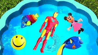 Learn Colors with Toys For Kids - Blue Pool For Children - Toys Iron Man Dory and Minnie Mouse Toys