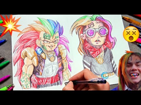 Drawing 6IX9INE in 3 different ART styles using ballpoint pens