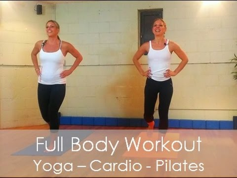 Full 45 min workout video - Pilates, Cardio, Yoga, Kicknoxing Fusion