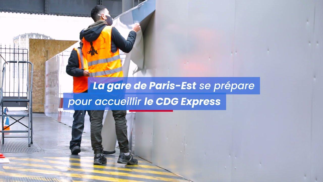 CDG Express - Pose de la palissade en gare de Paris-Est