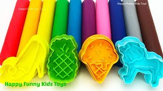 Learn Colors Play Doh Modelling Clay Lion Fish Fruit & Vegetable Molds Surprise Eggs Toys for Kids