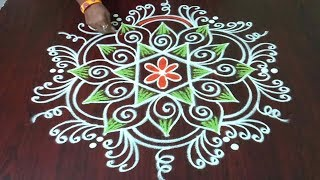 Chukkala Muggulu 5 x 3  || Easy And Simple Colourful Rangoli || Rangoli & Fashion World