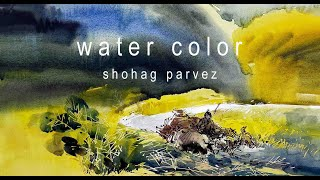 watercolor landscape tutorial by painter shohag parvez. 2015