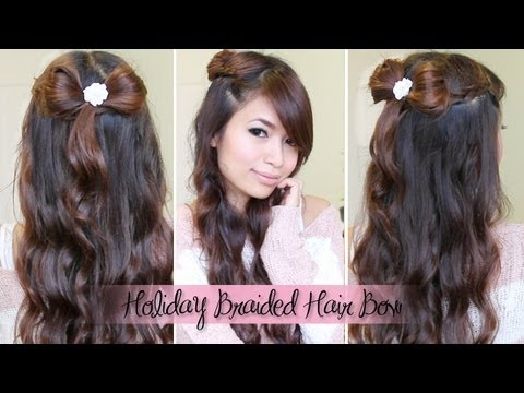Holiday Braided Hair Bow Hairstyle + GIVEAWAY!