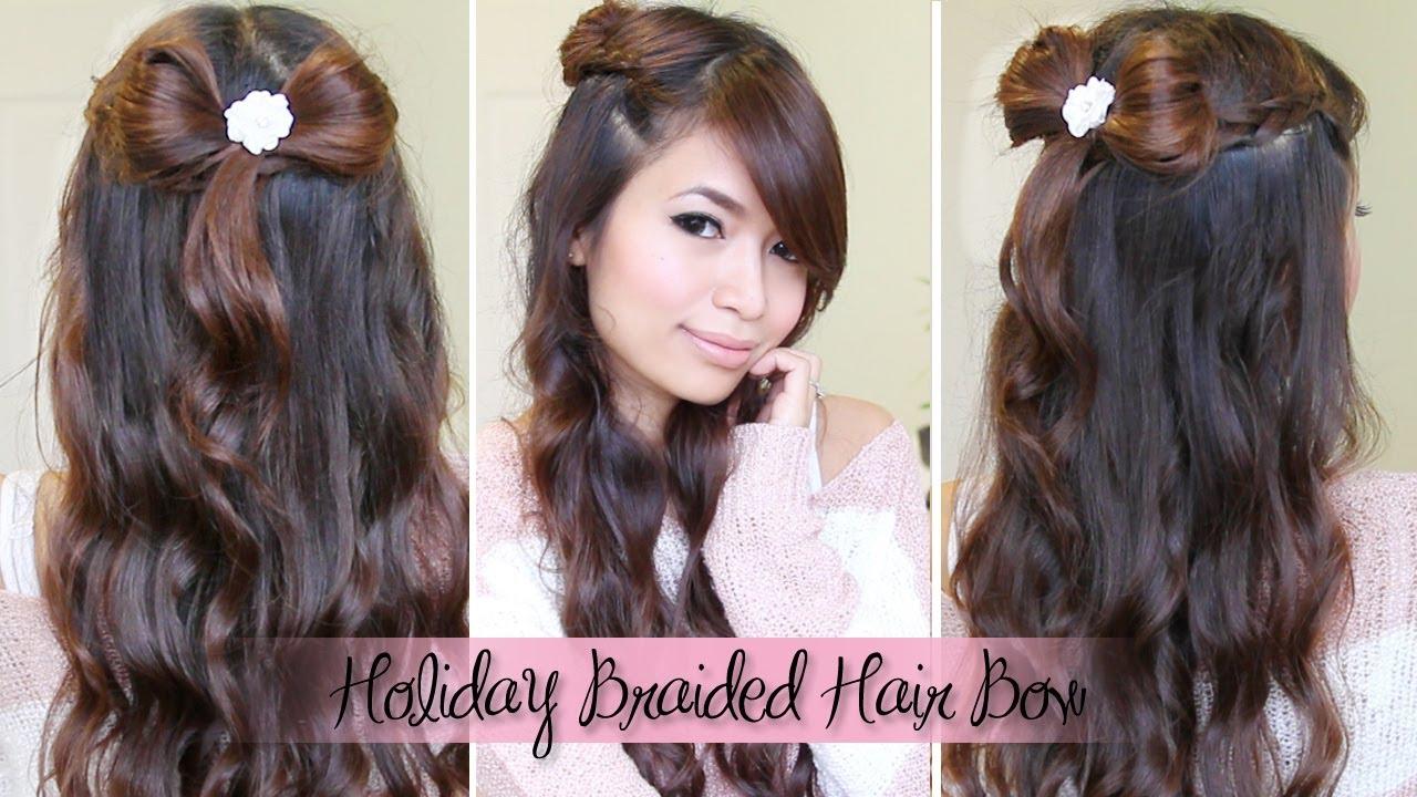 Dutch Braid Amp Hair Bow Half Updo Hairstyle For Medium Long