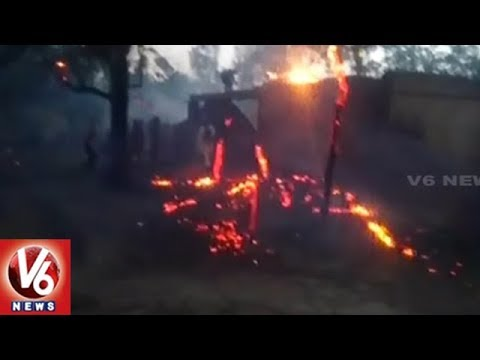 Huge Fire Accident In Rajpura, 50 Houses Burned | UP | V6 News