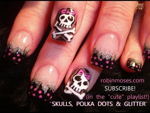 pink and black skulls with bows polka dots and glitter 566