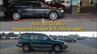 Audi S6 Quattro (1996) vs Subaru Forester S-Turbo S-AWD (1998) - 4x4 test on rollers