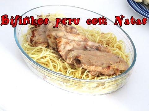 receita de bifinhos peru com natas esparguete salteado