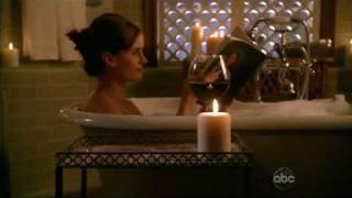 Stana Katic - leggy getting into bubble bath