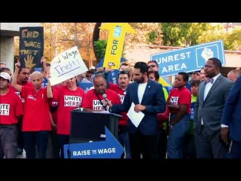 Raise the Wage Rally in front of Long Beach, CA City Hall