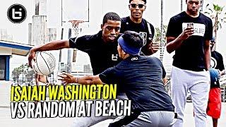 Jelly Fam Isaiah Washington 1 on 1 vs Random Fan at Venice Beach!!! JELLYFAM #BILAAG Weekend