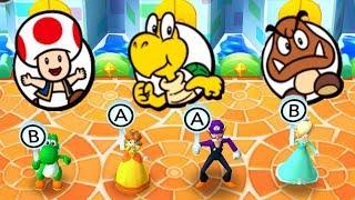 Mario Party The Top 100 MiniGames - Yoshi Vs Daisy Vs Rosalina Vs Waluigi