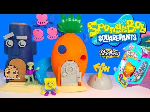 Spongebob Squarepants Bikini Bottom Squidward Playset Toy + Shopkins Season 3 Blind Bag