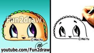 Cute Easy Drawings - How to Draw Cartoon Food - Taco - dibujos animados - dibujo
