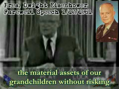 """an examination of the farewell address of president eisenhower President dwight d eisenhower is sometimes viewed as an intellectual  and  his january 17, 1961, farewell address starkly evidences this  in his shop,"""" by  """"task forces of scientists in laboratories and testing fields"""" given."""