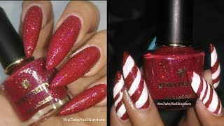 Candy Cane Christmas Nail Art + Bornpretty Honest Review + Swatches | Nail Star Aura