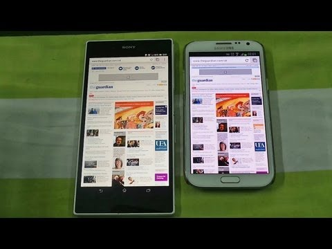 Sony Xperia Z Ultra Vs Samsung Galaxy Note 2 Browsing Speed Comparison