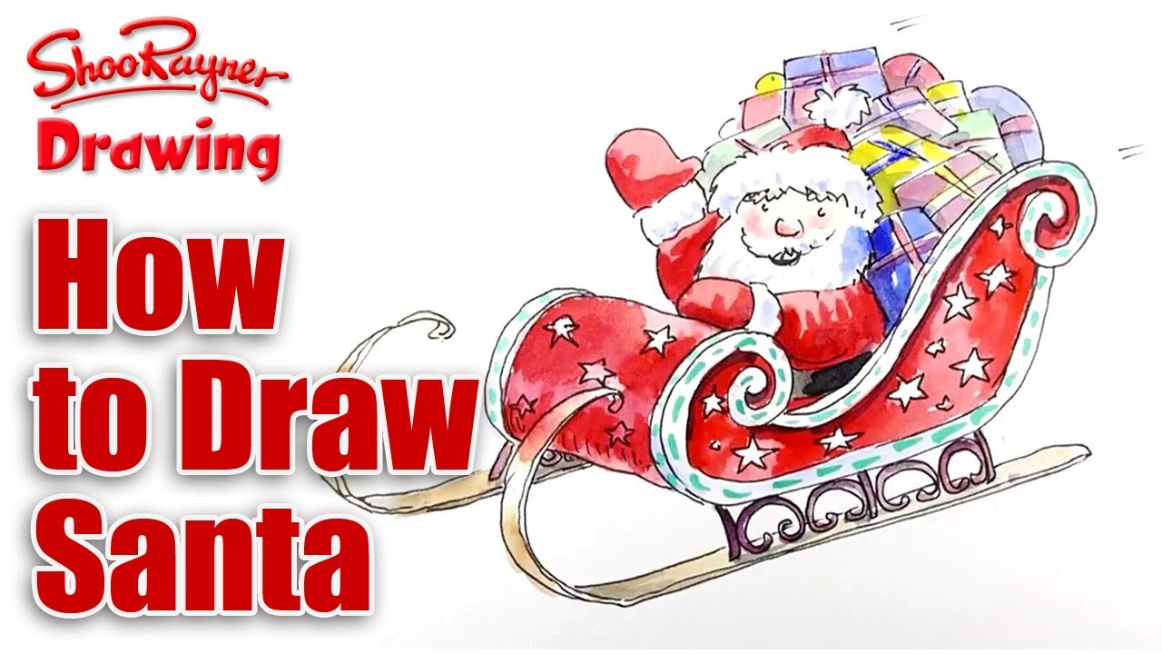 how to draw santas sleigh for christmas youtube