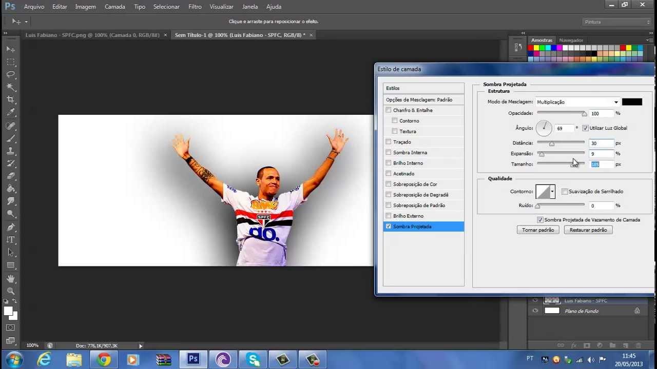Como Por/Colocar efeito sombra Projetada no Photoshop Cs6