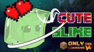 Cute Slime Boss Fight in Vanilla Minecraft with only one command block.