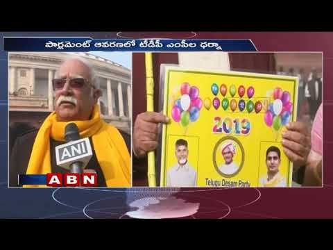 TDP MPs protest Continues At Parliament Over Bifurcation Promises | ABN Telugu