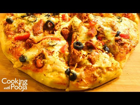 Dominos Chicken Pizza Recipe in Hindi | How to make Pizza at  home | Homemade Pizza Dough & Sauce