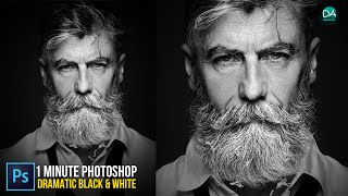 Create Dramatic Black & White in 1 Minute Photoshop - 1-Minute Photoshop Tutorial