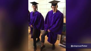 Dylan and Cole Sprouse switch places at their NYU graduation