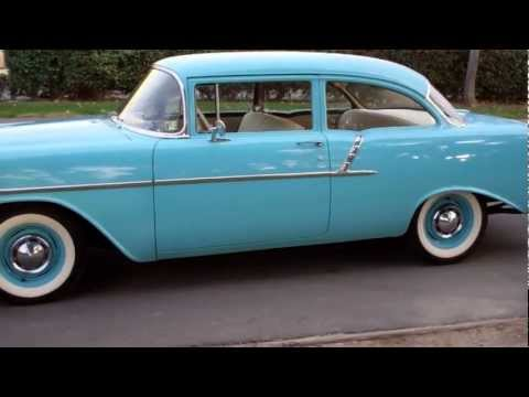 SOLD 1956 150 Post Chevy Nassau Blue w/Beige-Black interior, 235/140hp I-6, 3-on-the-tree.