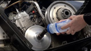 Snowmobile clutch removal, water method - very easy!  PowerModz!