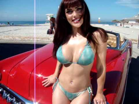 Swimsuit Pin Up Model Angelina With A 1954 Chevy Hot Rod