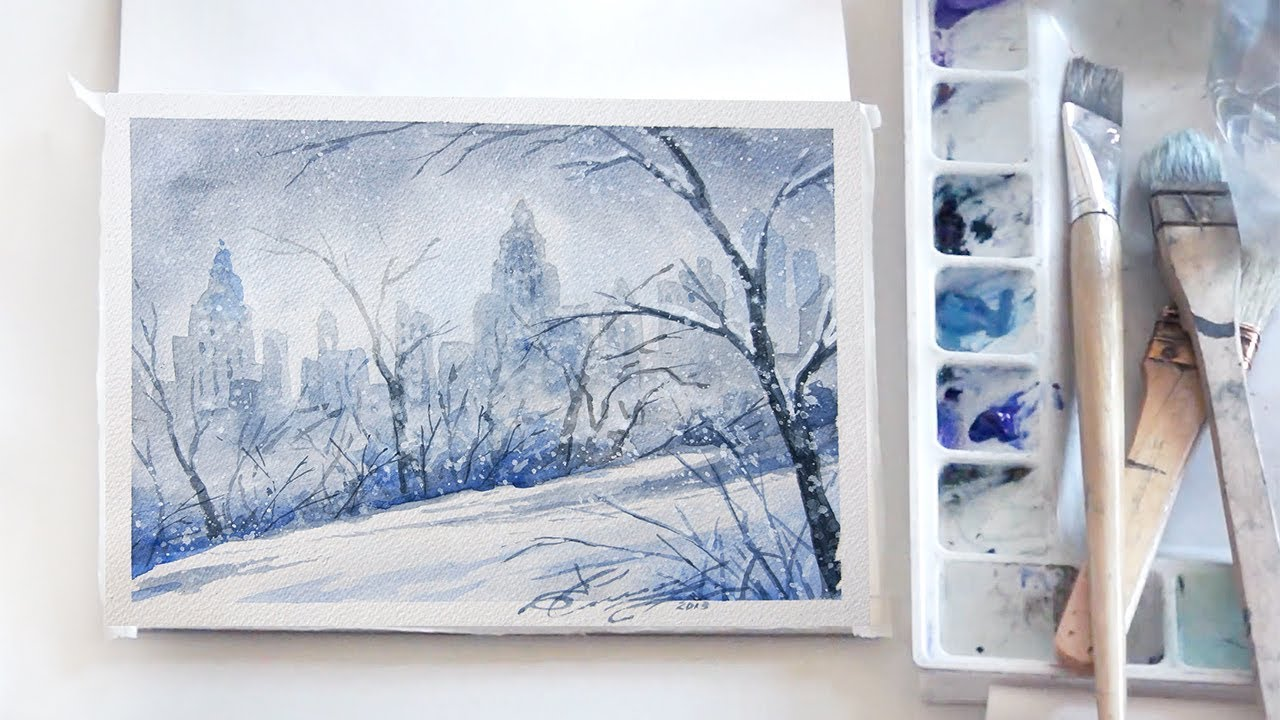 Easy Step By Step Watercolor Tutorial Winter In Central