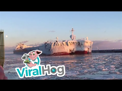 Ice Covered Presque Isle Heading into Harbor || ViralHog