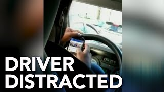 Paratransit driver caught watching videos while driving pregnant woman and her son