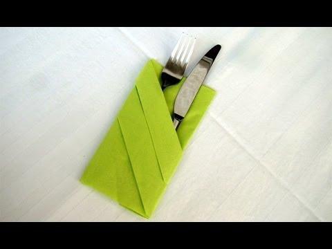 servietten falten bestecktasche falten einfache tischdeko z b hochzeit ibowbow. Black Bedroom Furniture Sets. Home Design Ideas